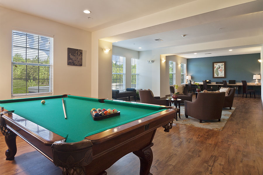 Pool Table with Lounge at Loftin at Montcross - Developed by Laurel Street